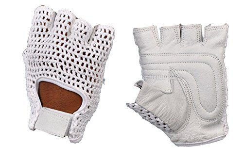 Kango Mesh Leather Weight Lifting Padded Gloves Fitness Cycling Gym Sports Medium White