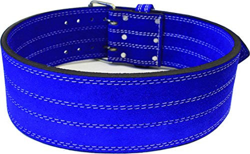 "Leather Power Weight Lifting Belt  4"" Blue Xl (38 43"")"