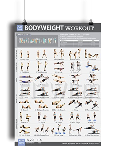 c6638f8d0e0 ... Bodyweight Exercise Poster Total Body Fitness Laminated Home Gym  Workout Poster Bodyweight ...