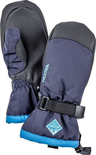 Hestra Ski Mittens for Kids: Waterproof C-Zone Cold Weather Winter Gloves, Dark Navy/Turquoise , 6