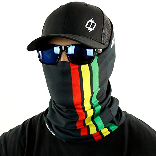 Rasta Stripe Bandana Neck Gaiter And Even A Dread Wrap By Hoo Rag   Rock The Rag In Style