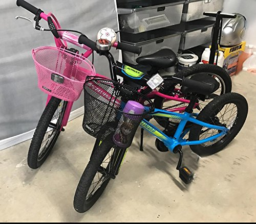 Biria Basket With Hooks Pink, Front, Removable, Wire Mesh Small Kids Bicycle Basket, Pink