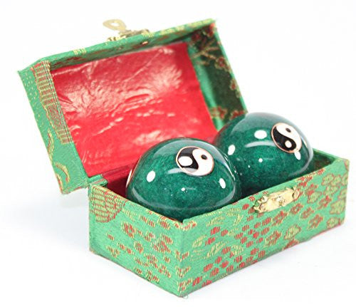 Set Of 2 Green Taiji Iron Ball Hand Stress Relief Exercise Finger Health Therapy Us Seller