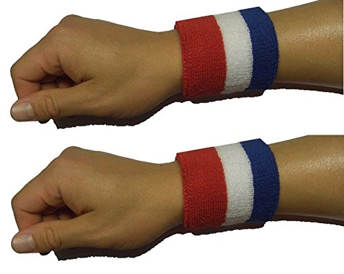Sock Tower Large 8 X 10 Cm Wristbands Sports Athletic Terry Cotton Cloth Sweatband Red White Blue (1)