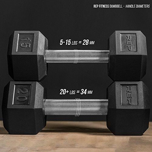 Rep Rubber Hex Dumbbells, 105 lb Dumbbell