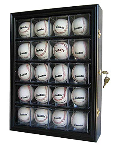 20 Baseball Or Cube Display Case Cabinet, With 98% Uv Protection. With Lock And Keys (Black Finish S