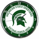 "Image of NCAA Michigan State Spartans Chrome Clock, 12"" x 12"""