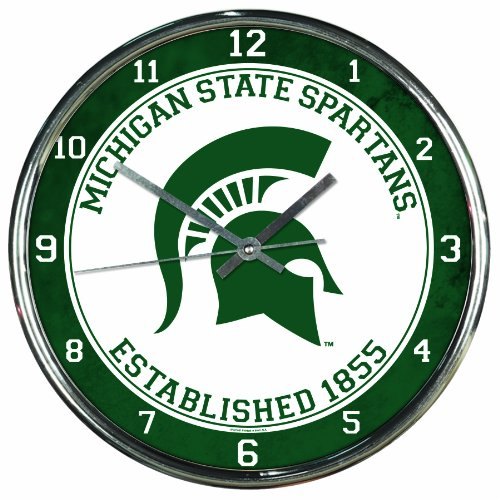 NCAA Michigan State Spartans Chrome Clock, 12