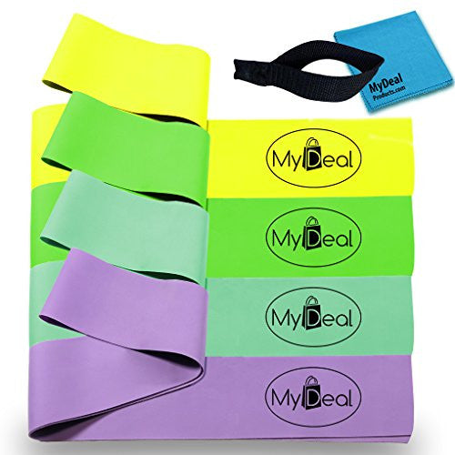 My Deal Sport Gym Fitness Stretch Band 6pc Portable Exercise Set With 4 X 100% Natural Latex Flat Elas