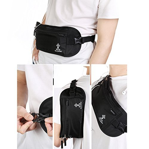 Xpassion Rfid Blocking Money Belt Adjustable Waist Wallet For Travelling,Walking,Running,Cycling And
