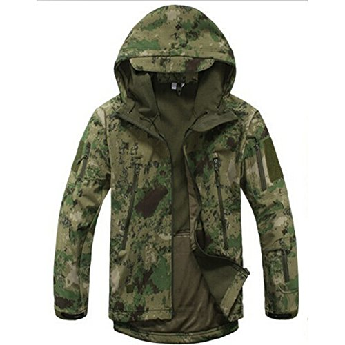 Waterproof Military Tactical Combat Softshell Jacket Outdoor Camping Hiking Camouflage Hoodie Coat (Ruins Green, XXXL)