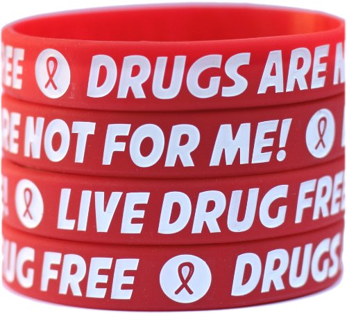 100 Child Size Live Drug Free Wristbands   Drugs Are Not For Me Bracelets   Red Ribbon Week Bands