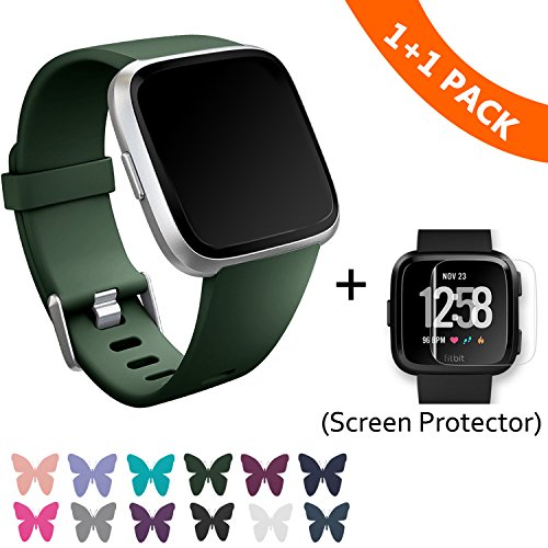 I-SMILE Fitbit Versa Bands, Classic Edition Replacement Bracelet Sport Wristband with Buckle Accessories Strap for Fitbit Versa Fitness Smart Watch, 13 Colors, Large, Small (Army Green, Large)