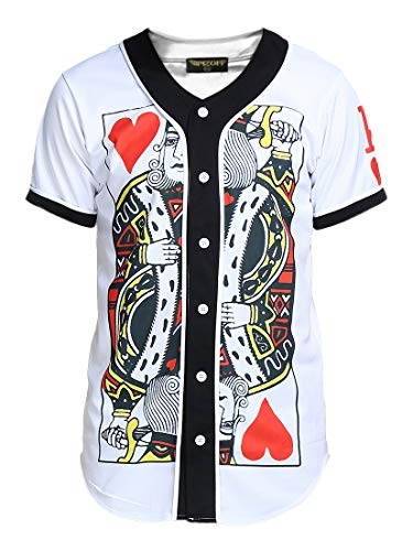 PIZOFF Short Sleeve Arc Bottom 3D King of Heart Print Baseball Jersey Shirt Y1724-5-M