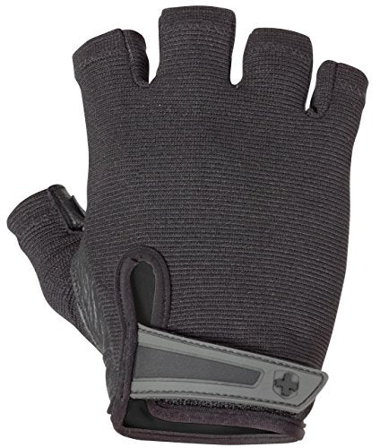 Harbinger Power Non Wristwrap Weightlifting Gloves With Stretch Back Mesh And Leather Palm (Pair), Bl