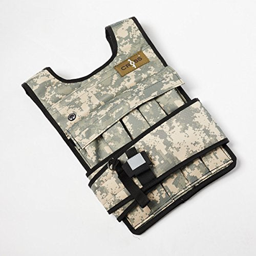 CROSS101 Adjustable Camouflage Weighted Vest with Shoulder Pads, 50 lb