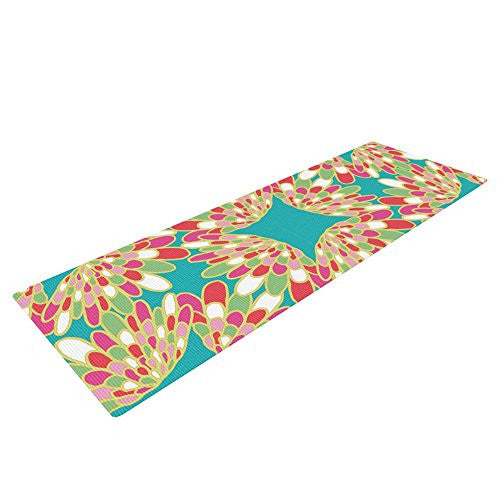 "Kess In House Miranda Mol Wings Exercise Yoga Mat, Green Teal, 72"" By 24"""