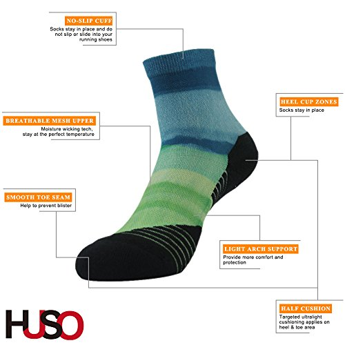 Huso Training Socks, Super Soft Digtial Printing Exercise Quarter Walking Socks 2 Pairs For Men Wome