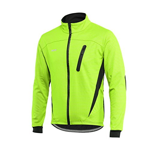 ARSUXEO Winter Warm UP Thermal Fleece Cycling Jacket Windproof Waterproof Breathalbe 16H Green Size XX-Large