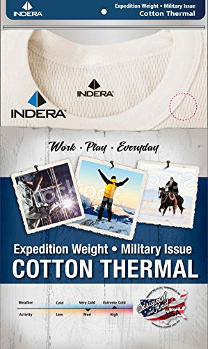 Indera Men's Expedition Weight Cotton Raschel Knit Thermal Underwear Top, Natural, XX-Large