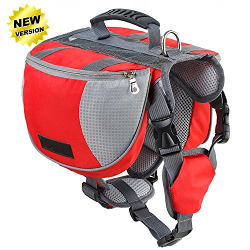 Lifeunion Adjustable Service Dog Supply Backpack Saddle Bag For Camping Hiking Training(Red,Small)