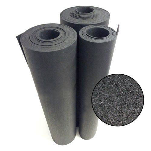 Rubber-Cal Rolled Rubber Floors - 9.5mm x 4ft Wide x 8ft Long Rolls - Black Rubber Mat