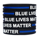 Image of 100 Child Blue Lives Matter Thin Blue Line Silicone Wristbands in Support Memory Police Officer