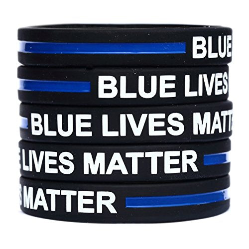 100 Child Blue Lives Matter Thin Blue Line Silicone Wristbands in Support Memory Police Officer