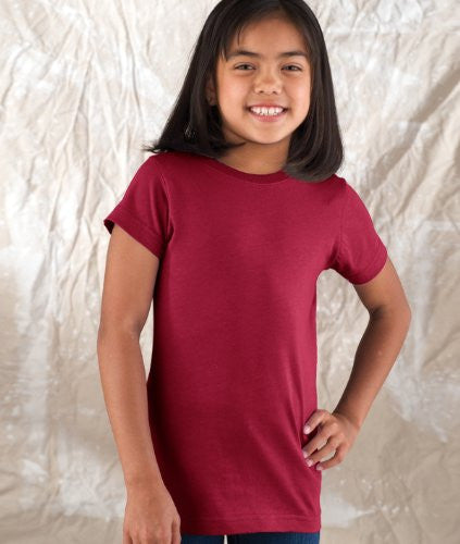 Lat Apparel Girls Jersey Longer Length T Shirt, Garnet, Large