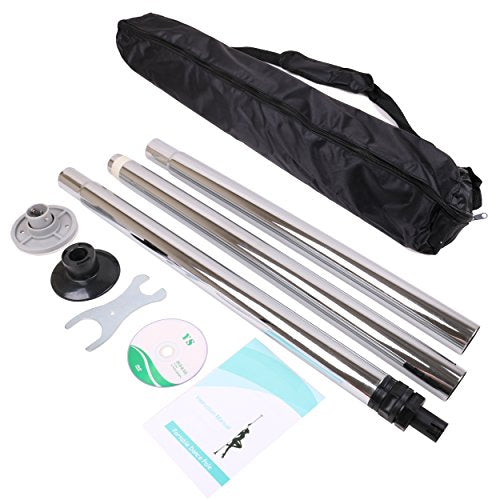 ECLV Chrome Dance Pole Full Kit Portable Stripper 50mm Exercise Fitness Club Party with Carrying Bag