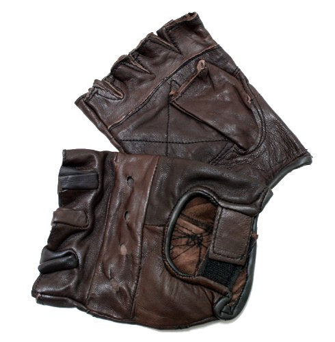 Brown Leather Finger Less Gloves Good Quality Size-XXL