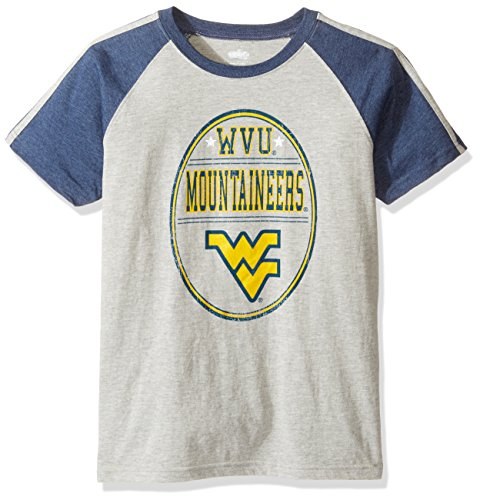 NCAA Boys Raglan Short Sleeve Stripe Tee,West Virginia Mountaineers,Midnight,L
