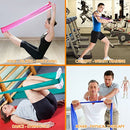 Image of My Deal Sport Gym Fitness Stretch Band 6pc Portable Exercise Set With 4 X 100% Natural Latex Flat Elas