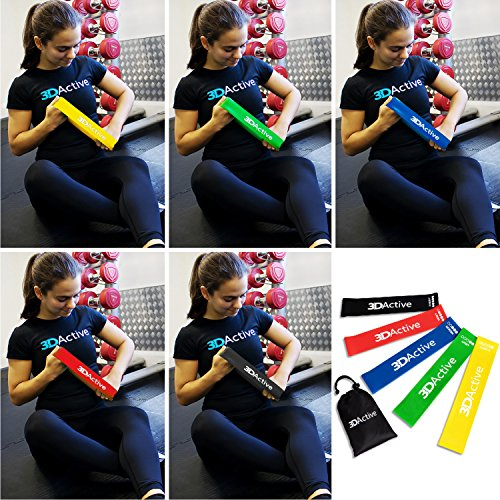 3DActive Exercise Resistance Loop Bands - Set of 5 Workout Bands. Best Resistance Bands for Legs, St