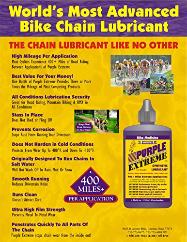 Bike Medicine Purple Extreme Performance Synthetic Chain Lubricant, High Mileage Bicycle Lube