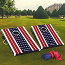Image of Harvil Cornhole Game Set - US Flag. Includes 8 Double-Lined Bean Bags