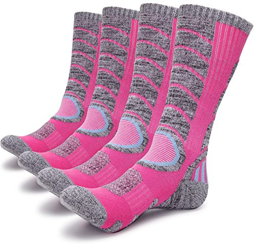 Gosuban 2 Pairs Antiskid Wicking Outdoor Multi Performance Hiking Cushion Socks for Men and Women, Assort Colors(2 Pack Pink)