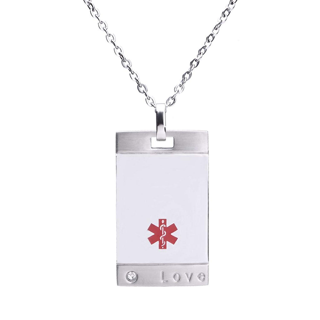 Free Engraving Stainless Steel LOVE ID Pendant Medical Alert Necklaces