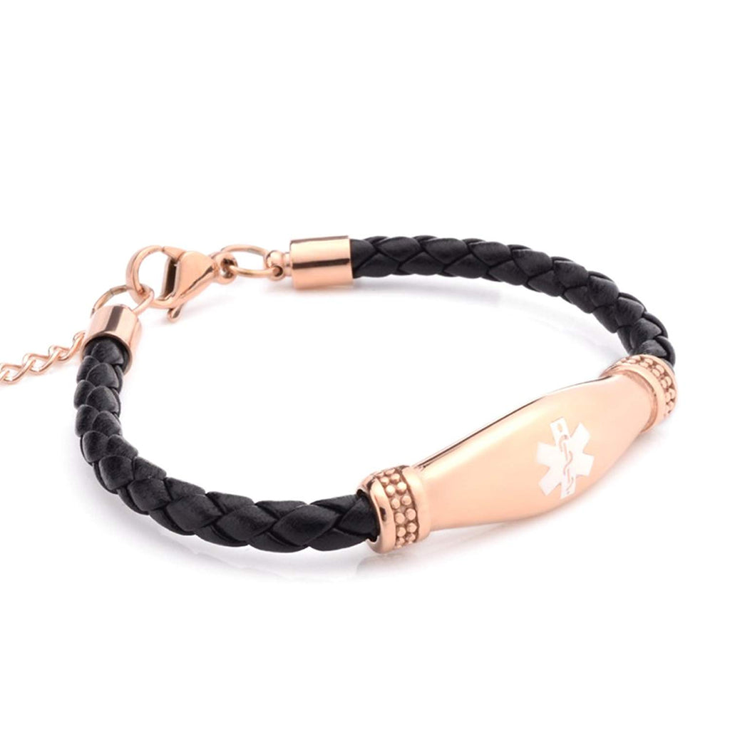 Fashion Genuine Leather Medical Alert Bracelet for Women with Free Engraving