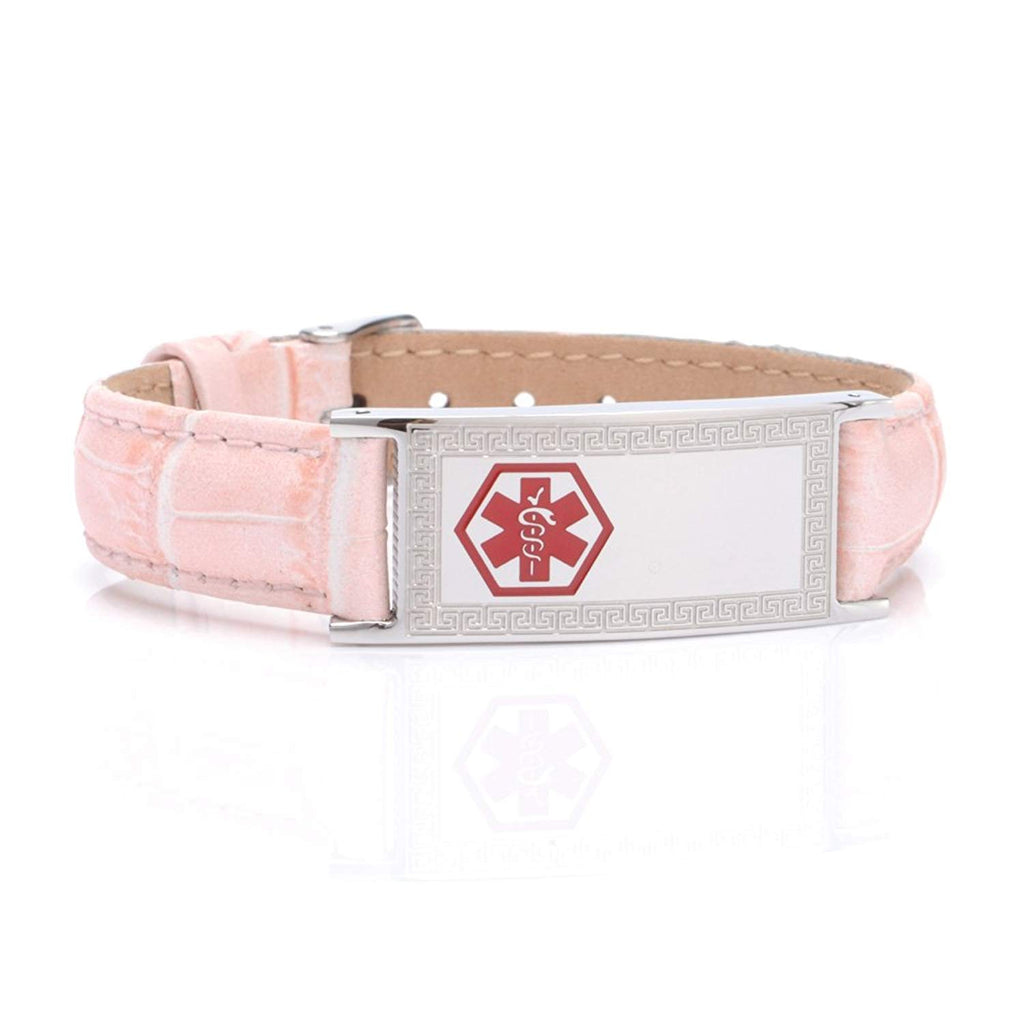 Pink Genuine Leather Medical alert id bracelets for Women with Free engraving