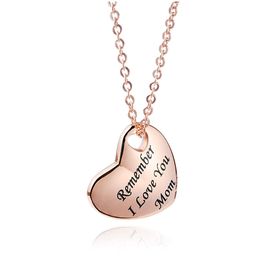 Remember i love you mom -Stainless steel heart Mom Necklace