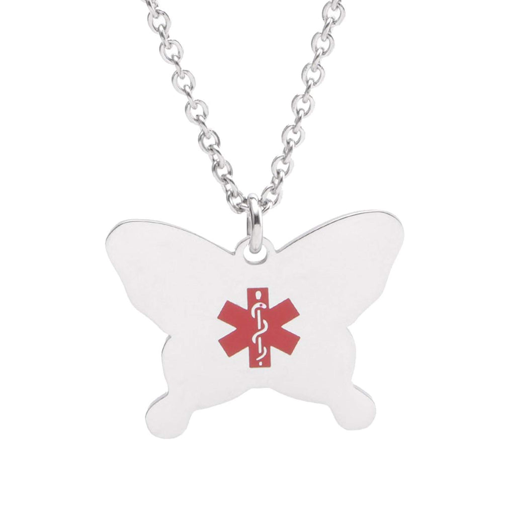 stainless steel Butterfly charm Medical ID Necklace for Boy and Girls