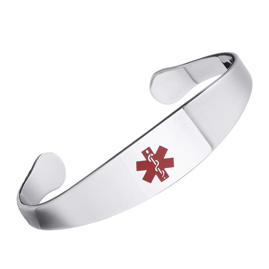 Free Engraving Shiny Medical alert id cuff bracelets for women