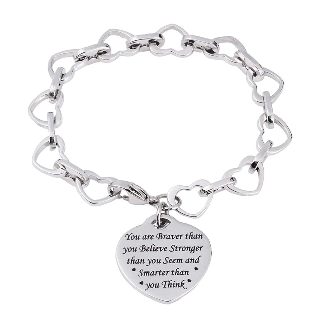 LinnaLove Heart to Heart Inspirational bracelet-You are Braver than you gift for Mom,girl