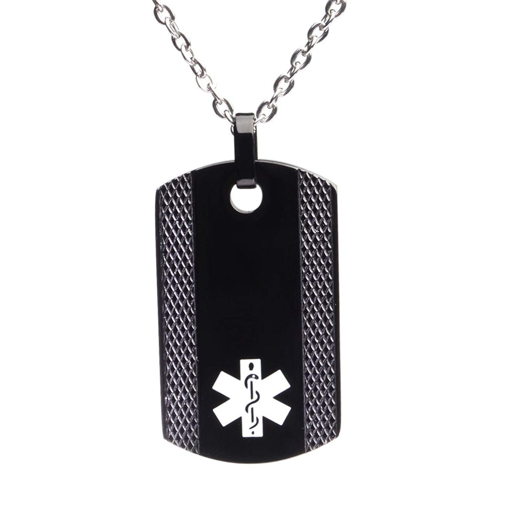 Free Engraving Black Dog Tag Medical ID Necklace for Men & Women