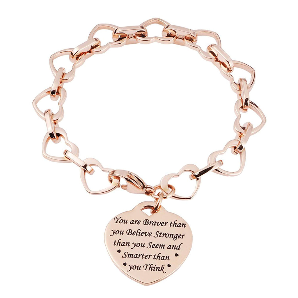 LinnaLove Heart to Heart Inspirational bracelet-You are Braver than you gift for Mom,girl,Birthdays, anniversaries, festivals and important days(RG)