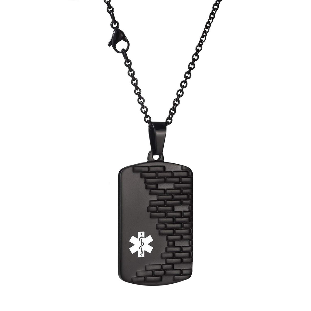 Free Engraving Tetris Medical id necklace for men and women