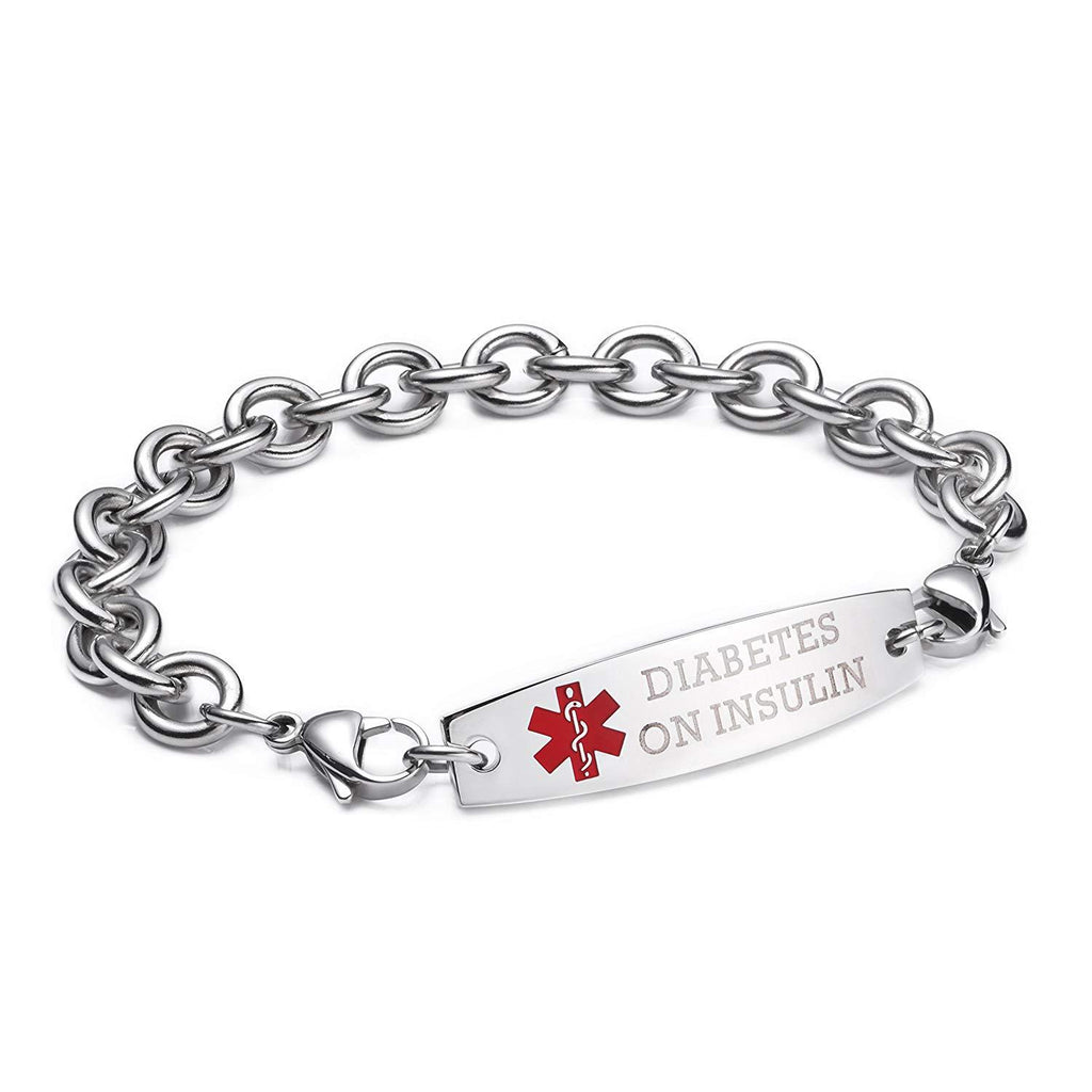 DIABETES ON INSULIN-Interchangeable medical alert bracelets-Cable Chain