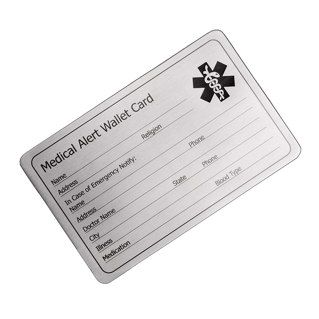 LinnaLove Stainless steel Medical Alert Wallet Card