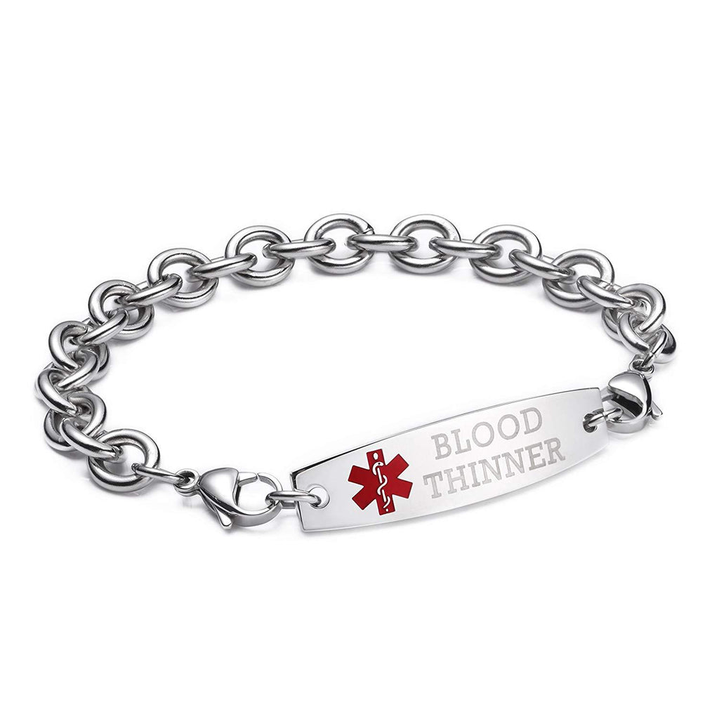 BLOOD THINNER-Interchangeable medical alert bracelets-Cable Chain